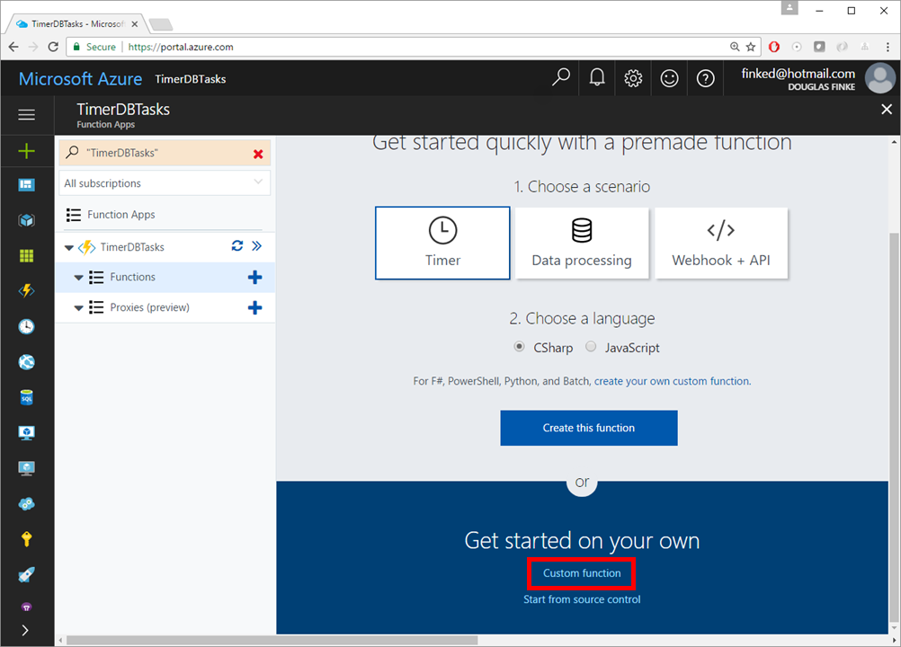 Use PowerShell in Azure Functions to perform a scheduled